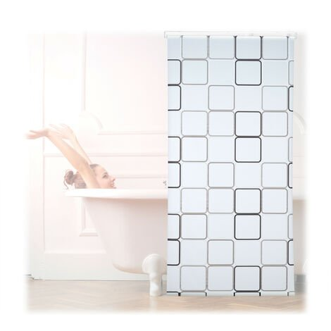 Relaxdays Shower Curtain Roller Blind, Water-repellent, Bath & Shower, Retro, From Ceiling , 100x240cm, Semi-transparent