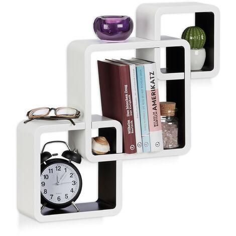 Relaxdays 3-Piece Wall Shelf, Matt Cube Hanging Shelf, Durable Floating Shelf, White-Black
