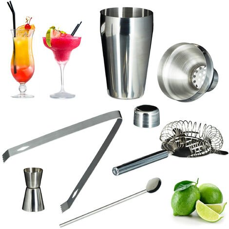 Relaxdays 5-Piece Cocktail Set, Rust-free Stainless Steel, Shaker, Sieve, Bar Spoon, Tongs, Jigger, Silver