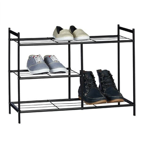 Relaxdays Shoe Rack SANDRA with 3 Shelves, Metal Shoe Storage with Boot Shelf, Size: 50.5 x 70 x 26 cm, for 8 Pairs of Shoes, with Handles, Black