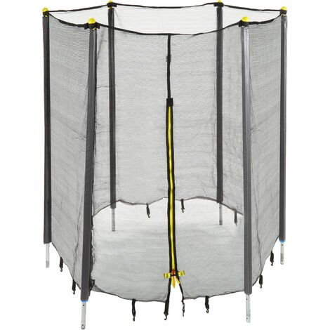 Relaxdays Garden Trampoline Safety Net with Padded Poles, Security Netting, Ø 305 cm, Black