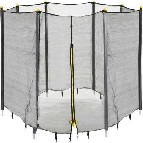 Relaxdays Garden Trampoline Safety Net with Padded Poles, Security Netting, Ø 427 cm, Black