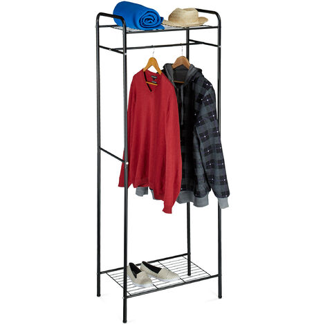 Relaxdays Clothes Stand with Shelves, SANDRA, Metal, Wardrobe Coat Rack with Clothes Rail, Shoe Rack for Boots, Size: 166 x 60.5 x 38 cm, Black