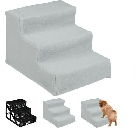 Relaxdays Dog Stairs, 3 Steps, Large & Small Pets, Access Ramp, Climbing Aid Couch, Cover, 30x35x45 cm, Grey