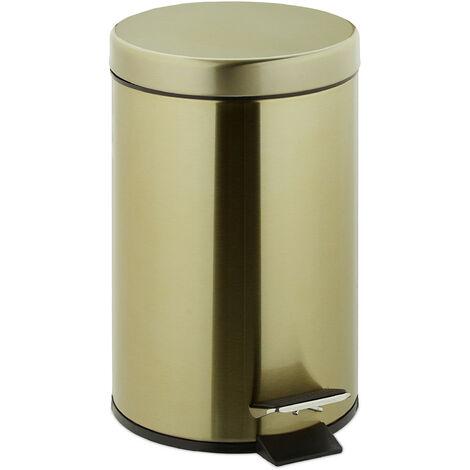 Relaxdays pedal bin, 3 litres, soft-closing mechanism, removable inner bin, bathroom waste bin, metal, gold cosmetic bin