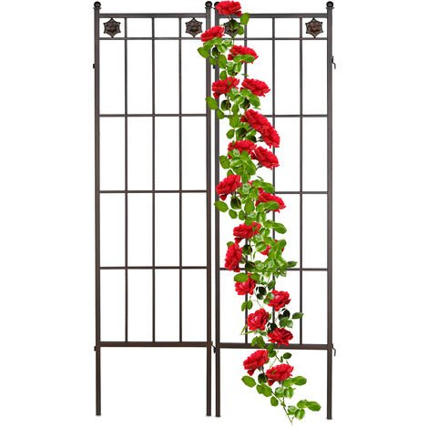 Relaxdays metal trellis panel, in a set of 2, climbing aid for plants, outdoor, support frame, 51 x 182 cm (LxH), brown