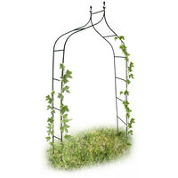 Relaxdays Curved and Pointed Rose Arch, Arbour Growth Support For Climbing Plants, Metal, 2.4 m Tall, Dark Green