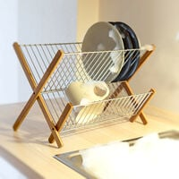 Relaxdays CROSS Bamboo And Chromed Steel Draining Rack: 27 x 38 x 29 cm Drying Rack Folding Dish Drainer For Plates, Cups, Glasses, Natural