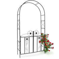 Relaxdays Rose Arch, 228 x 116 x 36.5 cm, Gate made of Powder-Coated Steel, with Door, Leaf Pattern, Climbing Plant Support, Black