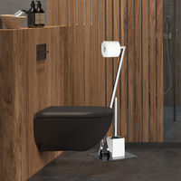 Relaxdays GLASS Toilet Brush and Holder, Size: 77 x 25 x 25 cm Glass and Metal Toilet Paper Holder in Stainless Steel Look, Free-Standing, Silver