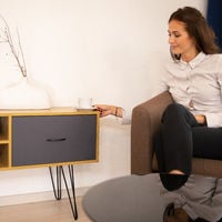 Relaxdays Retro Design Sideboard, Drawer, Metal Legs, Vintage Console Table, Colourful, HWD: 62x100x38 cm