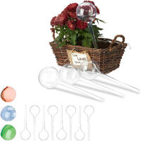 Relaxdays Watering Globes, Set of 12, Regulated Irrigation, 2 Weeks, Pot Plants, Plastic Sphere, Bulb, Transparent