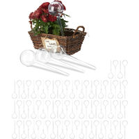 Relaxdays Watering Globes, Set of 80, Regulated Irrigation, 2 Weeks, Pot Plants, Plastic Sphere, Bulb, Transparent