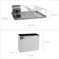 Relaxdays Metal Dish Rack Draining Rack with Drip Tray and Cutlery / Silverware Basket, 33 x 48 x 12 cm, Silver