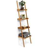 Relaxdays Wooden Shelf Bamboo Bookcase 4Shelves 176x 44x 37cm Bathroom Shelf with 4Tiers Living Room Office Bookshelf Wall Leaning Shelving Unit, Natural