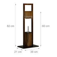 Relaxdays Bath Accessory Set, Roll Holder, Toilet Brush, Toilet Paper Stand, Bamboo, 82 x 36 x 21 cm, Brown