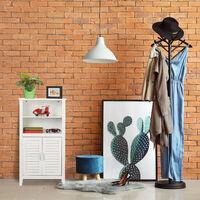 Relaxdays LAMELL White Bathroom Cabinet, Bamboo Floor Cupboard, Telephone Cabinet, Kitchen Storage Unit, HxWxD: 92 x 50 x 25.5 cm