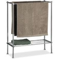 Relaxdays Chrome Towel Holder, 3 Towel Rails, With Shelf, Towel Rack, Sturdy & Stainless, HWD: 79x64x26 cm, Silver