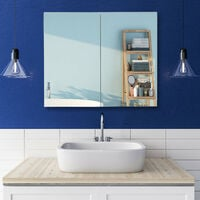 Relaxdays Double-Door Bathroom Mirror Cabinet with Power Socket, Steel, HWD 50 x 60 x 18cm, White