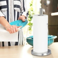 Relaxdays Stainless Steel Paper Towel Holder, Designer Paper Roll Stand, Kitchen Accessory, HxD: 33 x 15 cm, Silver