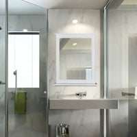 Relaxdays Bamboo Wall Mirror, Shelf, Rectangular Living Room, Bathroom or Hallway Hanging Mirrors, HWD 68 x 56 x 10 cm, White