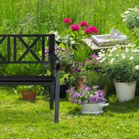 Relaxdays Metal Garden Bench, 2 Seater, Weatherproof, Patio, Porch & Balcony Bank, H x W x D 81 x 127 x 56 cm, Steel, Black