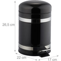 Relaxdays 3L Pedal Bin, Bin Liner with Handle, Kitchen Waste Bin, Trash Can, Stainless Steel, Black