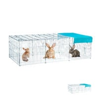 Relaxdays Free Range Rabbit Cage with Cover, Shade Sail, Large Outdoor Enclosure, HWD 65 x 112 x 216 cm, Galvanized