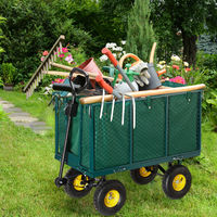Relaxdays Garden Hand Cart, Large Trailer with Folding Side Panels, Removable Tarp with Handles, Up to 500 kg, Green