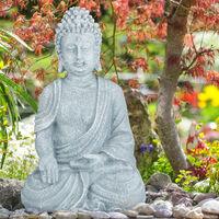 Relaxdays Sitting Buddha Figurine, 40 cm, Feng Shui, Outdoor, Garden, Décor, Big Zen Buddha Figurine, Light Grey