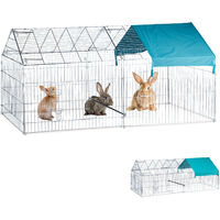 Relaxdays Free Range Pen Chickens and Rabbits, Sun Sail, Optional Sitting Rod, Big Coop, HBT 103x100x220cm, Galvanized, Silver
