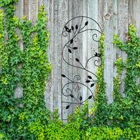 Relaxdays Bird Trellis, Metal Garden Lattice, Climbing Aid for Plants, 120 x 40 cm, Vine Design, White