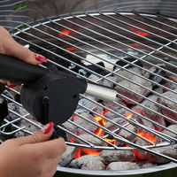 Relaxdays BBQ Blower Manual, Set Of 2, Manually-operated Fire Starter, Barbecue Fan With Crank, Coal Lighter, Black