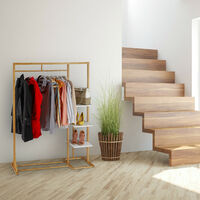 Relaxdays Bamboo Coat Stand, Open Wardrobe Rack, Garment rail & 3 Shelves, MDF, HWD 155 x 120 x 40 cm, Natural