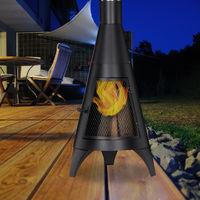 Relaxdays Patio Heater with Spark Screen Door, Decorative Fire Pit, Garden Brazier, For Wood, 120 x 45 cm, Steel, Black