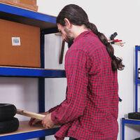 Relaxdays Heavy-duty Shelving, Capacity 875 kg, 5 Tiers, Modular, Garage, HxWxD 180x90x45 cm; Steel & MDF, Blue