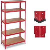 Relaxdays Heavy-duty Shelving, Capacity 1325 kg, 5 Tiers, Modular, Garage, HxWxD: 180x90x45 cm; Steel, MDF, Red
