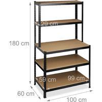 Relaxdays Heavy-duty Shelving, Workbench, Capacity 900 kg, 5 Tiers, Cellar, HxWxD 180x100x60 cm, Steel, MDF, Black