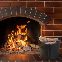 Relaxdays Faux Leather Firewood Basket, Sturdy Log Storage Bin with Handles, Size L, Black