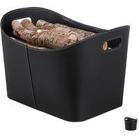 Relaxdays Faux Leather Firewood Basket, Sturdy Log Storage Bin with Handles, Size XL, Black