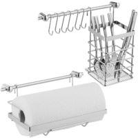 Relaxdays Kitchen Utensil Holder Set, Stainless Steel Look, Paper Roll, Cutlery Basket, Wall Racks, 6 Hooks, Silver