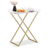 Relaxdays Folding Tablet Stand, Modern Side Table, Removable Acrylic Tray, Metal Frame, 73.5 x 60 x 40 cm, Golden