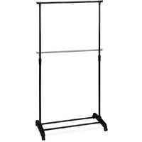 Relaxdays Clothes Rack On Wheels, Stable Clothing Rail With Shelf, Iron, Adjustable Height, 102.5 - 180.5 cm, Black