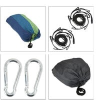 Relaxdays Hammock, XXL Hanging Mat For 2 Adults, Portable, In- & Outdoor, Made Of Cotton, 150x272 cm, Blue-Green