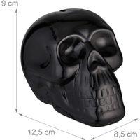 Relaxdays Skull Money Box, Piggy Bank, Bills & Coins, Gothic Fans, Halloween Décor, Ceramic, 9 x 8.5 x 12.5 cm, Black
