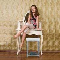 Relaxdays Upholstered Stool, Small, Square, Storage Shelf, Bath Stool, HWD 47x33x33 cm, White