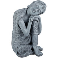 Relaxdays Buddha Ornament Sitting, 60 cm, Garden Decorative Figurine, Weatherproof, Frost-proof, Light Grey