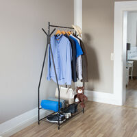 Relaxdays Clothes Stand with Shoe Rack SANDRA, Metal, Wide, Wardrobe Storage Unit with Garment Rail, 2 Shelves also for Boots, Size: 162 x 90 x 40 cm, Black