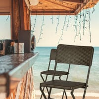 Relaxdays BASTIAN Folding Bar Stools, Rattan Look, Backrest, Bistro Chairs, Foldable, 78 cm Tall, Counter-Height, Brown