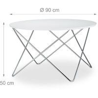 Relaxdays Round Side Table, Wooden Coffee Table with Curved Metal Legs, Living Room End Table, Large, 50x90x90cm, Low, White